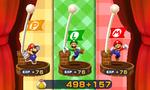 Screenshot of the post-battle screen in Mario & Luigi: Paper Jam