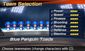 Blue Penguin Toad's stats in the soccer portion of Mario Sports Superstars