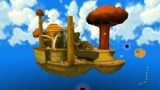 "A screenshot of Gold Leaf Galaxy during the ""Star Bunnies on the Hunt"" mission from Super Mario Galaxy."