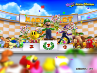Several characters making cameos in the results screen of Mario Kart Arcade GP 2.