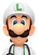 Sprite of Dr. Fire Luigi from Dr. Mario World