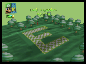 The fourteenth hole of Luigi's Garden from Mario Golf (Nintendo 64)