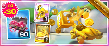The Gold Koopa (Freerunning) Pack from the Hammer Bro Tour in Mario Kart Tour