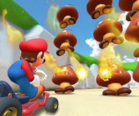 The icon of the Daisy Cup challenge from the 2019 Winter Tour and the Shy Guy Cup challenge from the Cat Tour in Mario Kart Tour