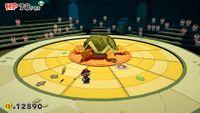 Mario in battle against the Earth Vellumental in Paper Mario: The Origami King