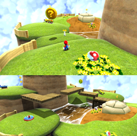 Mario above water in the starting planet in the Beach Bowl Galaxy.