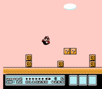 Mario performing the somersault float glitch