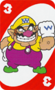 The Red Three card from the UNO Super Mario deck (featuring Wario)
