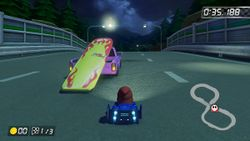 A close-up screenshot of the Surfboard vehicle in Mario Kart 8 and Mario Kart 8 Deluxe.