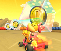 The icon of the Yoshi Cup's challenge from the 2020 Trick Tour in Mario Kart Tour.