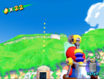 A Blue Coin in Ricco Harbor in the game Super Mario Sunshine.