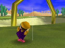 The Anthill Bunker, a Ring Shot challenge in Shy Guy Desert from Mario Golf