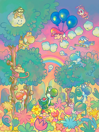 Promotional artwork of a scene in Yoshi Touch & Go.