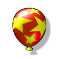 Artwork of a red Item Balloon from Diddy Kong Racing DS
