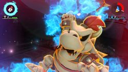 Dry Bowser performing his Special Shot, the Blazing Barrage
