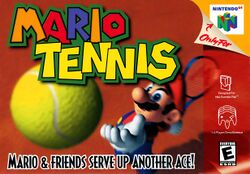 The front cover for Mario Tennis for Nintendo 64