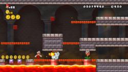 A screenshot of Mario traversing through the World 2 Castle.