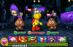 Screenshot of Expert, from the demo version of Puzzle & Dragons: Super Mario Bros. Edition.