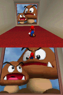 Mario facing the pictures of Tiny-Huge Island