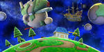 The Mario Galaxy stage in Super Smash Bros. for Wii U.