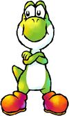 Artwork of Yoshi from Yoshi's Island: Super Mario Advance 3 (later reused for Yoshi Touch & Go)