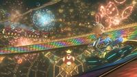Rosalina driving through <small>N64</small> Rainbow Road from Mario Kart 8