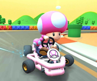 The icon of the Peach Cup challenge from the 2019 Paris Tour and the Bowser Cup challenge from the Pirate Tour in Mario Kart Tour