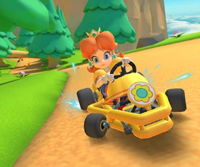 The icon of the Toad Cup challenge from the 2019 Winter Tour and the Pink Gold Peach Cup challenge from the 2021 Paris Tour in Mario Kart Tour.