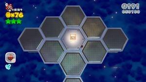 Hidden Luigi in Honeycomb Starway in Super Mario 3D World.