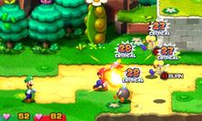 Screenshot of Mario using the Firebrand as a First Strike method in Mario & Luigi: Superstar Saga + Bowser's Minions