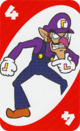 The Red Four card from the UNO Super Mario deck (featuring Waluigi)