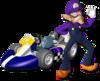 Artwork of Waluigi with his standard kart from Mario Kart Wii