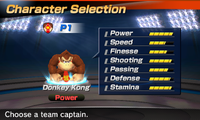 Donkey Kong's stats in the soccer portion of Mario Sports Superstars
