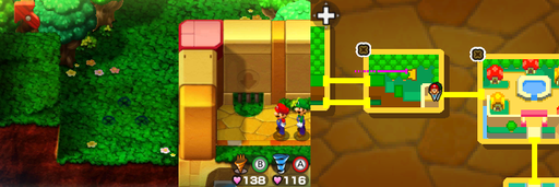 Location of the sixth, seventh and eighth beanholes in Toad Town.