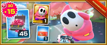 The Pink Shy Guy Pack from the Valentine's Tour in Mario Kart Tour