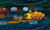 Screenshot of Mario and Wiggler in Paper Mario: Sticker Star