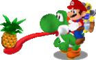 Super Mario Sunshine promotional artwork: Mario riding on Yoshi, eating a Pineapple whole