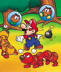 Artwork scene of Mario in the Forest of Illusion, from Super Mario World.