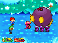 Commander Shroob leading Support Shroobs with a Shroob-omb