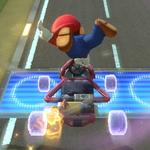 Mario performing a trick. Mario Kart 8.