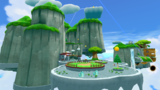 """A screenshot of Fluffy Bluff Galaxy during the """"Search for the Toad Brigade Captain"""" mission from Super Mario Galaxy 2."""