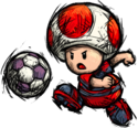 A Red Toad from Super Mario Strikers