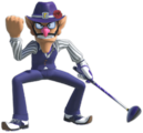 Artwork of Waluigi in Mario Golf: Super Rush