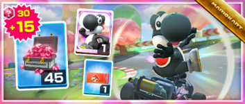 The Black Yoshi Pack from the Sunset Tour in Mario Kart Tour
