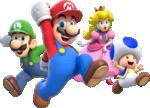 Group artwork of Mario, Luigi, Princess Peach and Toad