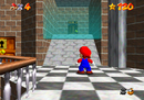 Mario finding the entrance to the water room