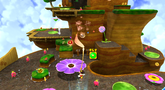 """Mario on the <span class=""""explain"""" style=""""color:inherit"""" title=""""Conjectural name for planet."""">Queen Bee Planet</span> in the Honeyhop Galaxy."""
