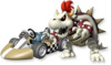 Artwork of Dry Bowser with his Standard Kart from Mario Kart Wii