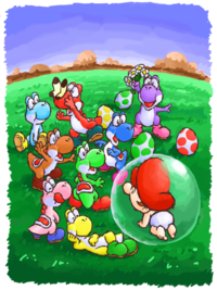 Yoshis from Super Mario World 2: Yoshi's Island and its GBA port.