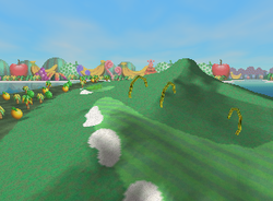 Arches in the Hills, a Ring Shot challenge in Yoshi's Island from Mario Golf